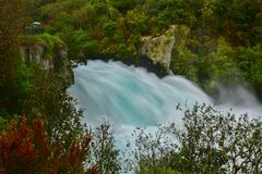 Fast flowing Huka Falls in Taupo Stock Photos