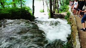 Fast Flowing Rapids, Plitvice Lakes, Croatia. Visitors on paths beside fast flowing white water rapids and small waterfalls linking Plitvice lakes, a UNESCO stock video footage