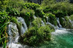 Fast Flowing Waterfall, Plitvice Lakes, Croatia Stock Image