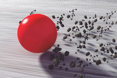 Fast flying red ball. 3D rendering of a fast flying red ball Royalty Free Stock Images