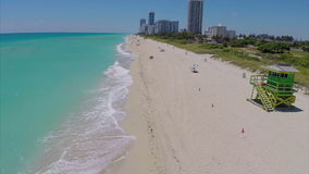 Fast flyover of Miami Beach stock video footage