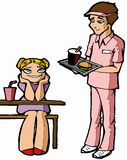 Fast food. Teenagers in fast food place stock illustration