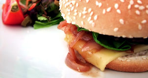 Fast Food. Cheese burger detail Stock Photo