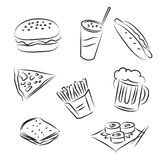 Fast Food. Set of  sketches  Fast Food Royalty Free Stock Images