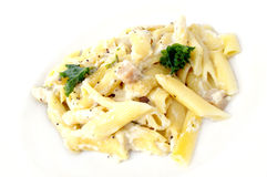 Fast food. Dinner white pasta penne with cheese macaroni chicken Royalty Free Stock Photos