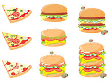Fast food. Pizza slices, cheeseburgers, and sandwiches. Clean cartoon style Royalty Free Stock Image