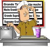 Fast Food. This illustration that I created depicts a boy working the register at a fast Mexican restaurant Royalty Free Stock Image