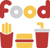 Fast food. Signs and symbols for eateries and bistros Stock Image