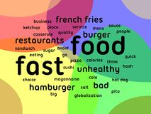 Fast food. Word cloud on a colored background Stock Images