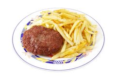 Fast Food. Cheeseburger and fried potatoes Royalty Free Stock Photo