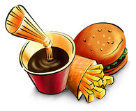 Fast food. Illustration of fast food - burger, chips and drink with straw Stock Image
