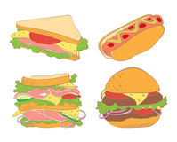 Fast food. Set of hamburger, hot dogs and two sandwiches Royalty Free Stock Images