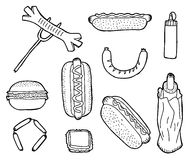 Fast food. Hand drawn fast food collection Royalty Free Stock Photo
