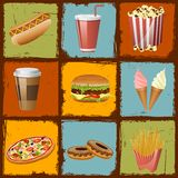Fast Food. Easy to edit vector illustration of fast food on grungy background stock illustration