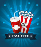 Fast food. Design over blue background vector illustration Royalty Free Stock Image