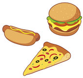 Fast food. Vector Hot dog Hamburger Pizza Stock Illustration