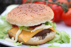 Fast food. A burger with meat and cheese Royalty Free Stock Photography