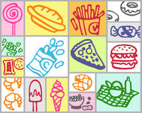 Fast-food. Vector hand drawn color set Royalty Free Stock Photos