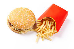 Fast Food. Burger and Fries in Cardboard Fast Unhealthy Food on White Background Royalty Free Stock Images