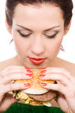 Fast food. Close-up portrait of young woman with hamburger Royalty Free Stock Image