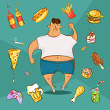 Fast food addiction concept. Unhealthy nutrition conception. Fat man and different dishes in cartoon style. Vector illustration.  Stock Images