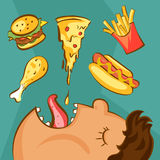 Fast food addiction concept. Unhealthy nutrition conception. Obese man and different dishes in cartoon style. Vector illustration.  Stock Photography