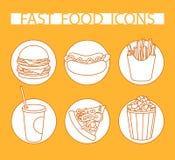 Fast food ajustado do ícone alaranjado Imagens de Stock Royalty Free