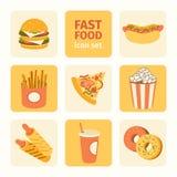 Fast food ajustado do ícone do vetor Imagens de Stock Royalty Free