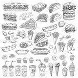 Fast food ajustado do vetor Imagens de Stock Royalty Free