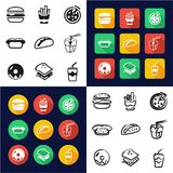 Fast Food All in One Icons Black & White Color Flat Design Freehand Set. This image is a vector illustration and can be scaled to any size without loss of Royalty Free Stock Photo
