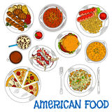 Fast food americano e ícone grelhado do esboço dos pratos Imagem de Stock Royalty Free