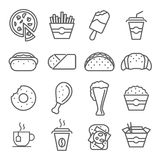 Fast food art line icons Royalty Free Stock Images