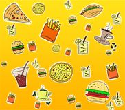 Fast food background Stock Images