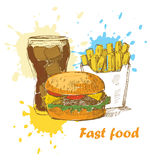 Fast food background. Vector illustration with hand drawn stock illustration