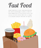 Fast food background with colorful food icons. Tasty food concept. Vector Stock Image