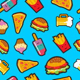 Fast food background with cute cartoon elements Stock Image