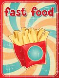Fast food background with french fries in retro Stock Photography