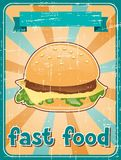 Fast food background with hamburger in retro style Royalty Free Stock Image