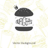 Fast food background with hand drawn burger Royalty Free Stock Photos