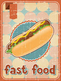 Fast food background with hot dog in retro style Royalty Free Stock Photography