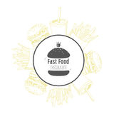 Fast food background and round label with hand Royalty Free Stock Photography