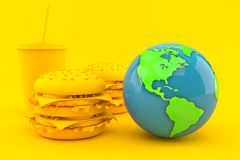 Fast food background with world globe vector illustration