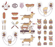 Fast food badges and icons colored 5 Stock Photo