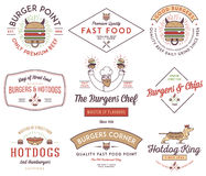 Fast food badges and icons colored 3 Royalty Free Stock Photos