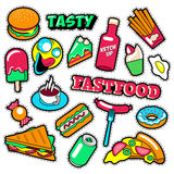 Fast Food Badges, Patches, Stickers - Burger Fries Hot Dog Pizza Donut Junk Food in Comic Style Stock Image