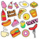 Fast Food Badges, Patches, Stickers - Burger Fries Hot Dog Pizza Donut Junk Food in Comic Style Royalty Free Stock Photo