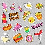 Fast Food Badges, Patches, Stickers with Burger Fries Hot Dog Pizza Donut Junk Food Royalty Free Stock Photo