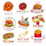 Fast Food Badges Set Stock Images