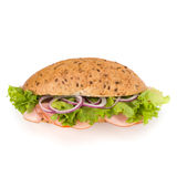 Fast food baguette sandwich with lettuce, tomato, ham and chees Royalty Free Stock Photo