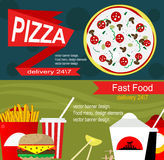 Fast food banner design concept. Stock Photos